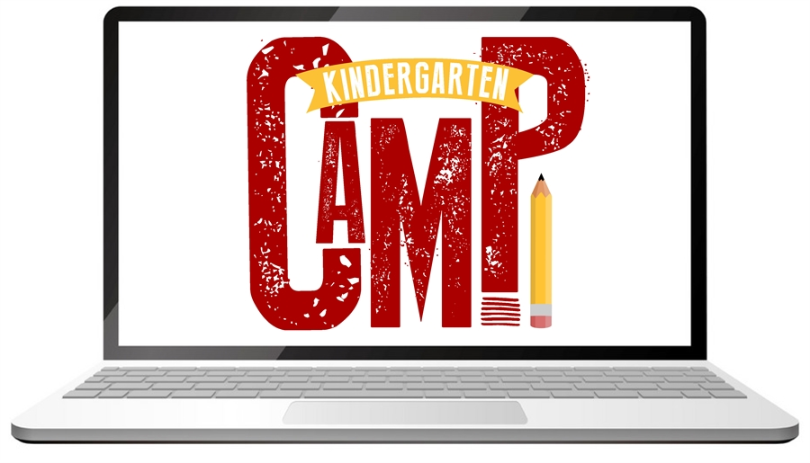 This is a picture of a computer that says Kinder Camp.